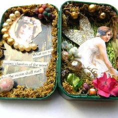 Fairy Altered Art Tin Mixed Media Original by ThirtySixCreek Inspired: vintage cards Altered Tins, Altered Art, Mint Tins, Tin Art, Altoids Tins, Assemblage Art, Tin Boxes, Little Boxes, Shadow Box
