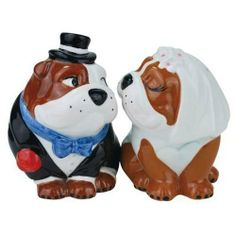 """Westland Giftware Mwah Wedding Bulldogs Magnetic Ceramic Salt and Pepper Set, 3.5-Inch by Westland Giftware. $11.00. High quality ceramic design. Not dishwasher or microwave safe. A great collector's gift. Functional and decorative item. Beautifully painted with attention to detail. Westland Giftware's Wedding Bulldogs Magnetic Ceramic Salt & Pepper Shaker Set stands 3.5"""" tall and each piece has a magnetic insert that holds them together.  Dressed in wedding attire, these Bulldo..."""