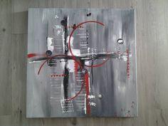 ARCA - Tableau abstrait gris, blanc, rouge