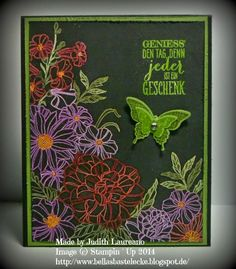 Bella´s Bastelecke: Corner Garden is embossed in white then colored with Blendabilities