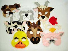 Children's Barnyard Farm Animals Felt Super Combo of 8 Masks