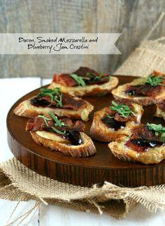 Authentic Suburban Gourmet: Bacon, Smoked Mozzarella and Blueberry Jam Crostini   Friday Night Bites