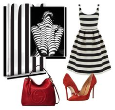 """""""stripes"""" by evachasioti ❤ liked on Polyvore featuring Warehouse, Dsquared2, Gucci and stripes"""