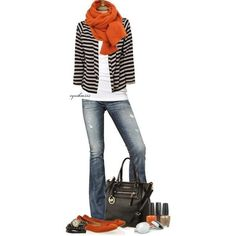 Black & White casual jacket (saw one at target). Orange Scarf (I have one) Orange Tory Burch shoes (have)