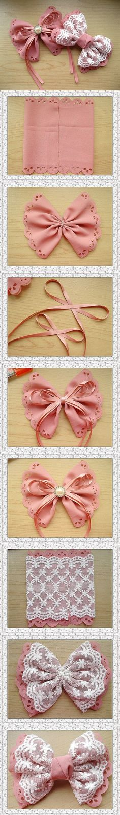 cute DIY bow tutorial - need to try this with SugarVeil On a headband or as a hair clip Lace Bows, Ribbon Bows, Ribbons, Pew Bows, Cute Crafts, Diy And Crafts, Summer Crafts, Fall Crafts, Bow Tutorial