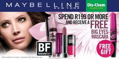 Spend R199 or more on @Maybelline cosmetics and receive a free BIG EYES MASCARA worth R125. #DischemBeautyFair
