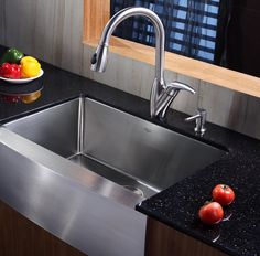 Buy the Kraus Stainless Steel Direct. Shop for the Kraus Stainless Steel Kitchen Combo - Farmhouse Single Bowl 16 Gauge Stainless Steel Kitchen Sink with Pullout Spray Kitchen Faucet and Soap Dispenser and save. Farmhouse Aprons, Farmhouse Sink Kitchen, Kitchen Sinks, Kitchen Fixtures, Kitchen Islands, Stainless Steel Kitchen Faucet, Basin Design, Single Bowl Kitchen Sink, Kitchens