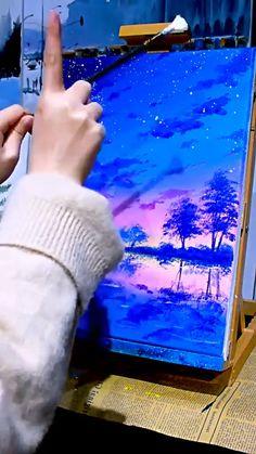 Scenery Paintings, Cool Paintings, Art Painting Gallery, Diy Painting, Cool Art Drawings, Diy Artwork, Sky Landscape, Learn Art, Art Studies
