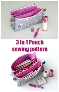 Sewing pattern for a zipper bag with three separate sections or compartments. This zipper bag sewing pattern is ideal for a manicure bag, a pen or pencil case, for holding sewing supplies, or cosmetics and so much more. A zipper bag pattern with a single zipper which opens into three separate pockets inside. #BagSewingPattern #SewABag #PouchSewingPattern #SewAPouch #ZipperPouchPattern #ZipperPouchSewingPattern #ZipperBagPattern