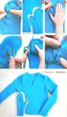 Making Gloves From Old Sweater DIY Old Sweater Diy, Dinosaur Stuffed Animal, Gloves, Kids Rugs, Shapes, Sewing, How To Make, Sweaters, Dressmaking