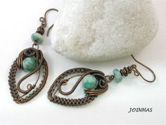 Copper Earrings, Wire Wrapped Jewelry Handmade, Copper Wrapped Earrings, Green…