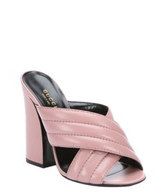 ec12b40d84b Gucci Carmine Rose Leather Crossover Detail Slip-On Sandals Open Toe High  Heels