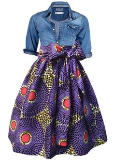 Chioma African Print High Waist Full Skirt (Purple/Pink)