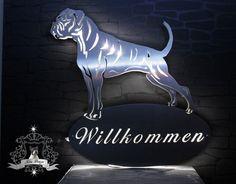 Edelstahl Wandschild REG LED beleuchtet. Deutscher Boxer