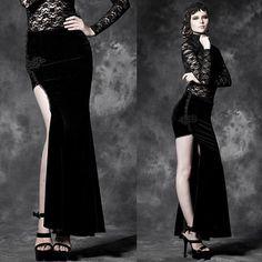 Sexy Black Velvet Mermaid Maxi Long Goth Fashion Dress Skirts Women SKU-11406143