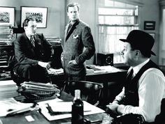 George Sanders, Joel McCrea, and Robert Benchley in FOREIGN CORRESPONDENT (1940). Directed by Alfred Hitchcock.