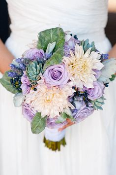 Violet & Blush Garden Bouquet |  | From the Runway to the Aisle - Violet, Blush and Seaglass Wedding Inspiration from Badgley Mischka