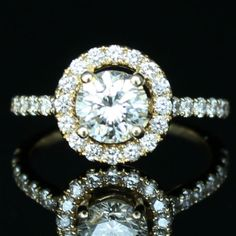 1 CTW Round Halo Engagement Ring * Diamond Exchange Dallas * Wholesale Diamonds * Diamond Engagement Rings Dallas TX