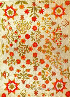 Pieced & Applique Quilt Pot Of Flowers 1870 Pennsylvania