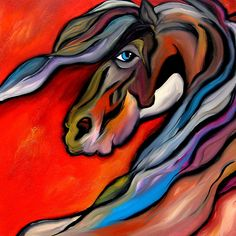 horses in art | Horse Art By Fidostudio Painting - Carousel - Abstract Horse Art ...