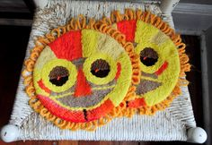 Vintage Abstract Mask Sunshine Retro Embroidered Hot Plate or Trivet Warming Pad by drowsySwords on Etsy