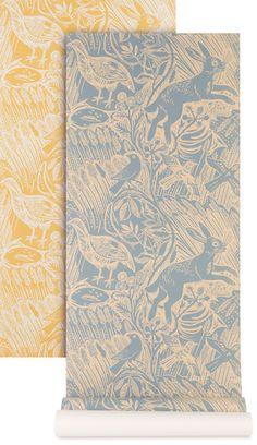 mark feald 'harvest hare' wallpaper design