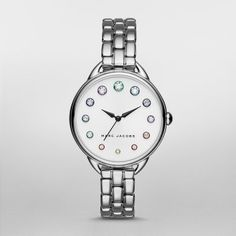Betty Stainless-Steel Three-Hand Watch A polished stainless-steel case and bracelet with rounded links accent the white sunray dial of the Marc Jacobs Betty watch, finished with graduated crystal indexes in rainbow-colored metallic settings.
