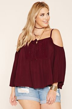 Forever 21+ - A woven open-shoulder top with a crochet panel framing its self-tie split neckline, long sleeves, and crisscross straps along its V-back.