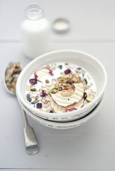 granola with quinoa, cranberries, pistachios and crispy apple chips.