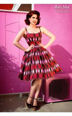 Jenny Dress in Red and Chocolate Brown Harlequin Print- oh my goddddddddddddd this dress is definitely my next splurge.