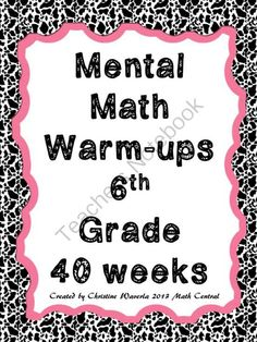 Fantastic Fall Giveaway! - One lucky winner will win my Mental Math Warm-ups for 6th grade!.  A GIVEAWAY promotion for Mental Math Warm-ups 6th Grade from Math Central on TeachersNotebook.com (ends on 11-8-2013)