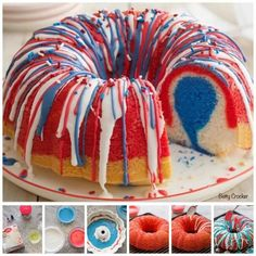 Celebrate of July in style with a red-white-and-blue dessert made from Betty Crocker SuperMoist white cake mix, Betty Crocker Whipped fluffy frosting and red and blue food coloring!(How To Make Cake In Microwave) Fourth Of July Cakes, 4th Of July Desserts, Fourth Of July Food, July 4th, Memorial Day Desserts, Red Cake, Blue Cakes, Betty Crocker, Food Cakes