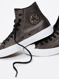 Converse Perforated Metallic Leather Hi Top Chucks at Free People Clothing Boutique Fall Shoes, New Shoes, Summer Shoes, Converse Classic, Converse High, Cinderella Shoes, Buy Shoes Online, Leather Design, Metallic Leather