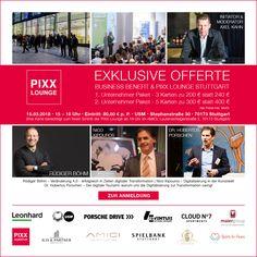 📍15. März PIXX Lounge Stuttgart 2018 -- Business Benefit am Nachmittag, 15 - 18 Uhr - USM Showroom, Stephanstraße 30 -- und entertainment am Abend, ab 19 Uhr - AMICI, Lautenschlagerstraße 2 Anmelden: www.pixx-lounge.de/pixx-lounge-anmelden Es ist immer wieder eine spannende und zugleich emotionale Aufgabe unser Konzept einer Netzwerk Plattform in unterschiedlichen Städten umzusetzen. Wir stellen uns gerne dieser Herausforderung und freuen uns auf die PIXX Lounge Serie 2018.