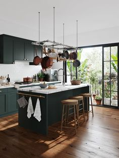 Just in time for summer, here is how you can create a tropical kitchen, bedroom and bathoom, from furniture and wallpaper to house plants and decor Home Decor Kitchen, New Kitchen, Home Kitchens, Dark Kitchens, Kitchen Ideas, Funny Kitchen, Green Kitchen, Kitchen Furniture, Bedroom Furniture