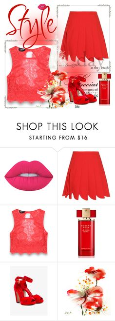 """""""Fashion style"""" by deemonk ❤ liked on Polyvore featuring Lime Crime, Miu Miu, Bebe, Estée Lauder, Alexander McQueen and New"""