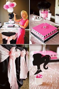 Retro Barbie Party pink and black decor details!
