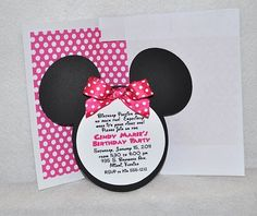 Deb's Party Designs -  Minnie Mouse Birthday Invitation (INSPIRED) with matching lined envelope., $1.95 (http://www.debspartydesigns.com/minnie-mouse-birthday-invitation-inspired-with-matching-lined-envelope-1/)