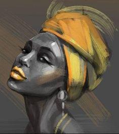 african paintings on canvas Black Girl Art, Black Women Art, Art Girl, L'art Du Portrait, Afrique Art, Black Art Painting, Watercolor Painting, African Art Paintings, Afro Art