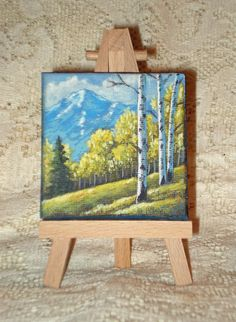 Miniature painting of fall in the Rocky by WindOnThePrairie, $25.00