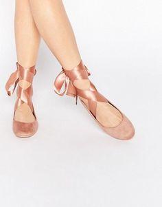 Glamorous | Glamorous Nude Suedette Ribbon Tie Ballet Shoes at ASOS