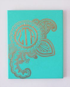 "Custom GOLD MONOGRAM Hand Painted Stretched Canvas Sorority Initial Henna Boho Eastern Styled Personalized Big Little Gift Dorm decor 8""x10"""