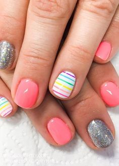 Rainbow Nail Designs for spring nail and summer #naildesigns #rainbow