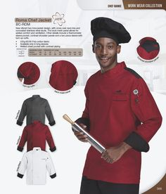 New vibrant chef jacket design, with cross over neckline and concealed stainless steel studs. The back mesh panel allows for added comfort and ventilation. Mesh Panel, Work Wear, Catering, Chef Jackets, Studs, Cuffs, Cotton Fabric, Contrast, Vibrant