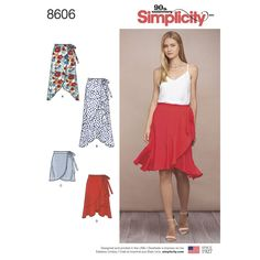 Sew this Misses' wrap skirt with your choice of length, with or without a ruffle. Great as a beach cover up or day-to-evening. Simplicity sewing pattern.