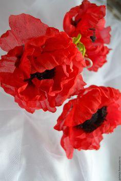 Купить Цветы из шелка.Шпилька Маки - ярко-красный, цветы из ткани, цветы из шелка, красный