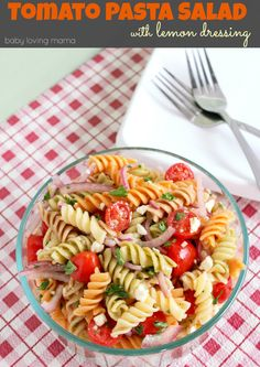 Tomato Pasta Salad with Lemon Dressing Recipe