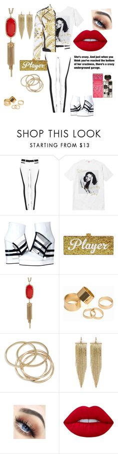 """""""Sade Tee"""" by gigiglow ❤ liked on Polyvore featuring 3x1, Edie Parker, Kendra Scott, Pieces, ABS by Allen Schwartz, Kenneth Jay Lane, Lime Crime, Britney Spears and Grace"""