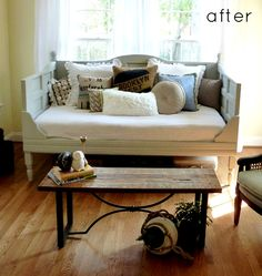 old door turned daybed