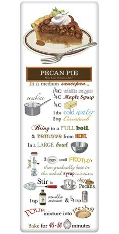 Southern Pecan Pie Recipe Cotton Flour Sack Dish Towel Tea Towel We treasure the recipe dish towel! Discover flour sack towels for every cook's decor and holidays. This one features an amazing recipe for a Southern Pecan PIe. Pie Recipes, Dessert Recipes, Cooking Recipes, Vegetarian Recipes, Dinner Recipes, Vegetarian Cooking, Cooking Ideas, Cooking Food, Food Ideas